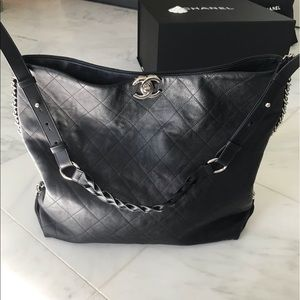 Chanel large black hobo bag